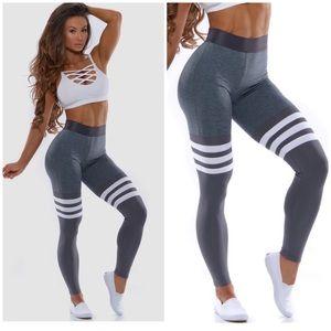 Bombshell grey & blue thigh high leggings sz Sm